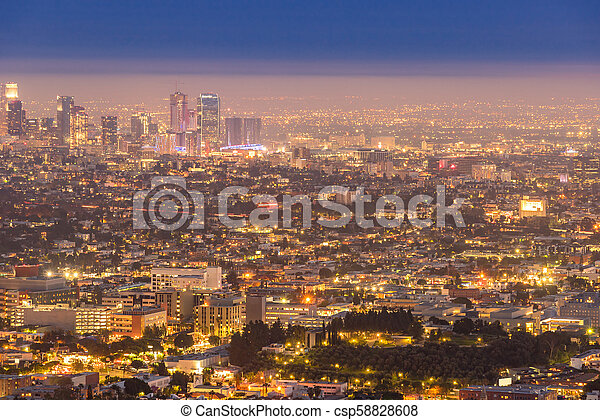 Los Angeles Downtown sunset - csp58828608