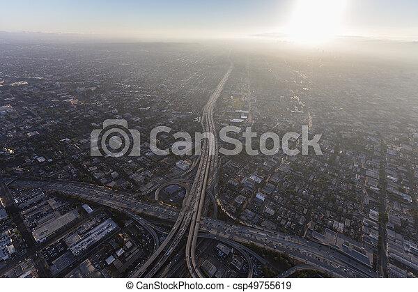Los Angeles Freeway and Summer Smog Aerial - csp49755619