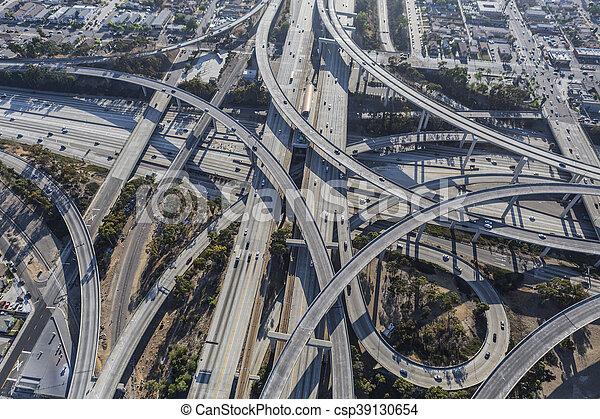 Los Angeles Freeway Interchange Ramps Aerial - csp39130654