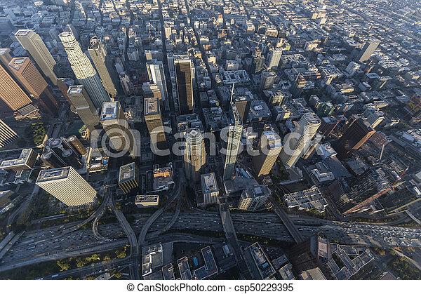 Los Angeles Freeway Towers Aerial - csp50229395