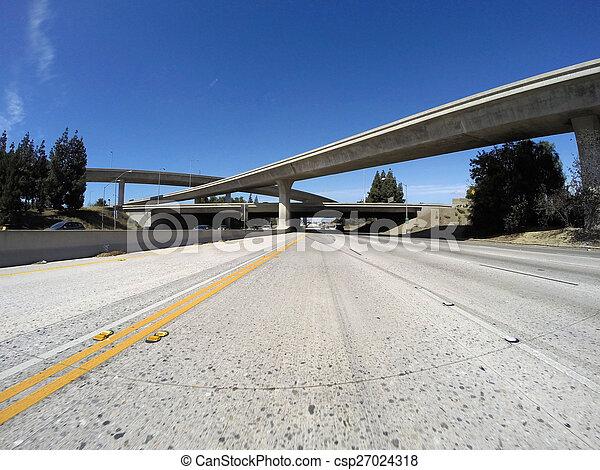 Los Angeles Freeways in San Fernando Valley - csp27024318