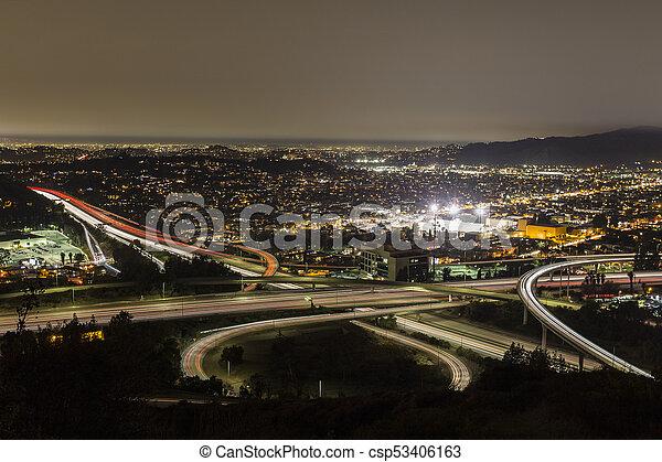 Los Angeles Freeways Night - csp53406163