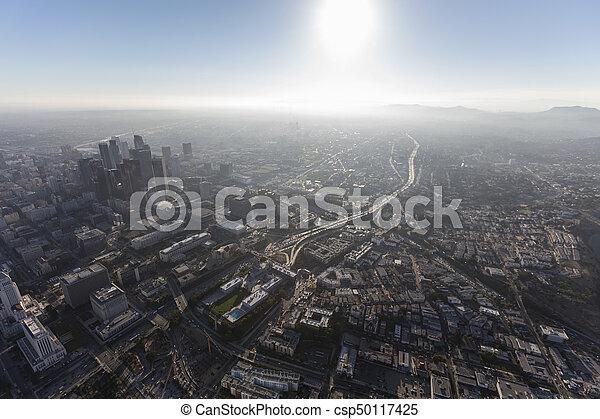 Los Angeles Hazy Summer Afternoon Aerial - csp50117425