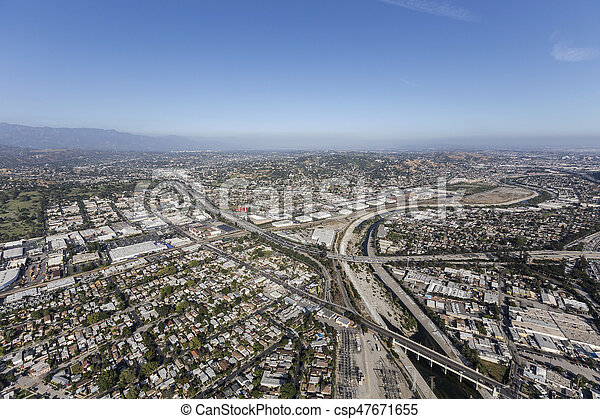 Los Angeles River at the Glendale Freeway - csp47671655