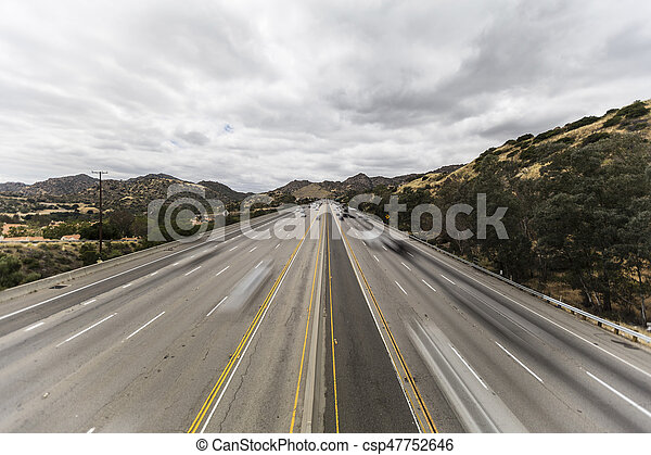 Los Angeles San Fernando Valley Freeway with Motion Blurred Vehicles - csp47752646