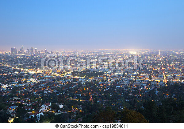 Los Angeles skyline downtown at night - csp19834611