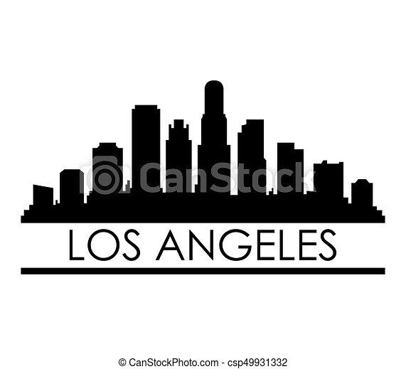 los angeles skyline rh canstockphoto com Los Angeles Drawings los angeles skyline silhouette vector free
