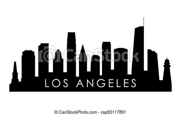 los angeles skyline silhouette. black los angeles city design isolated on  white background. | canstock  can stock photo