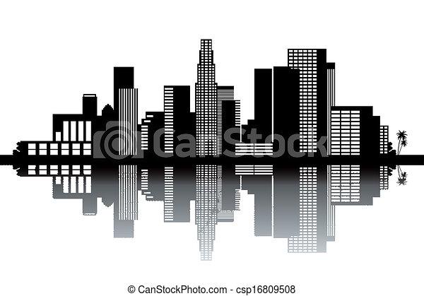 los angeles skyline black and white vector illustration rh canstockphoto com Los Angeles Clip Art los angeles skyline outline vector