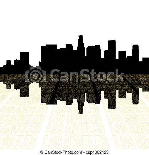 Los Angeles skyline with perspective text outline foreground - csp4002423