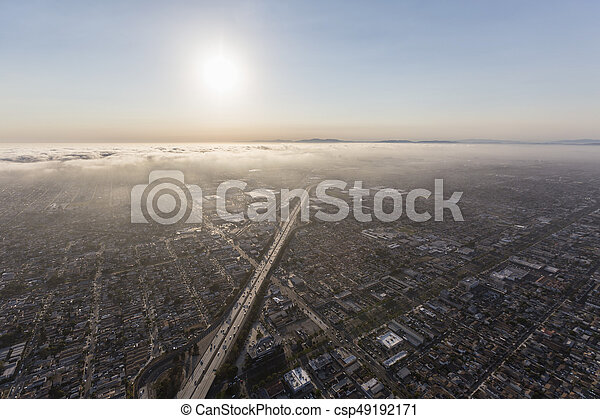 Los Angeles Smog and Fog along the 405 Freeway - csp49192171