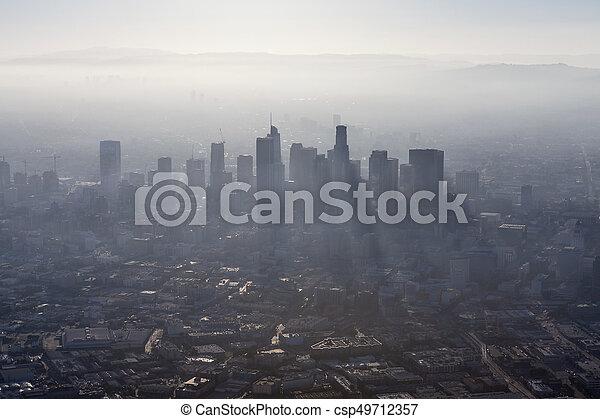 Los Angeles Summer Smog Aerial - csp49712357