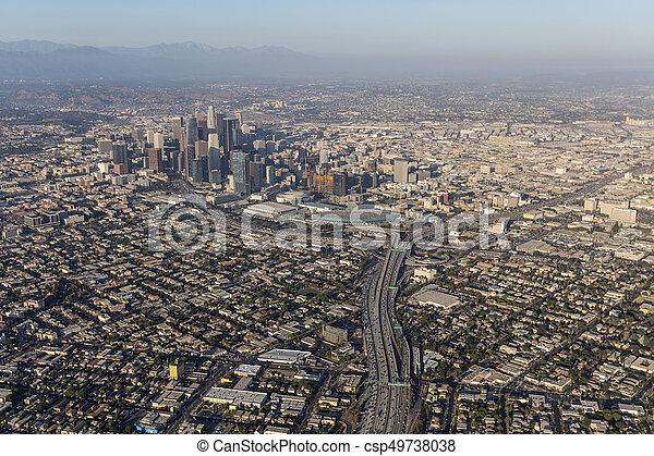 Los Angeles Summer Smog Aerial - csp49738038