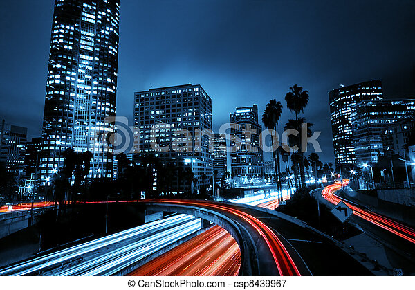 Los Angeles, Urban City at Sunset with Freeway Traffic - csp8439967