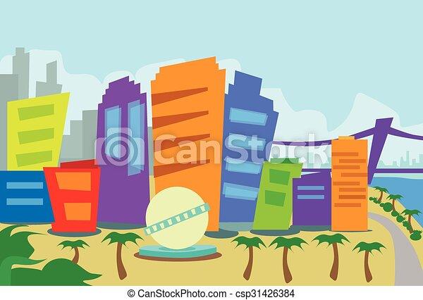 los, astratto, angeles, orizzonte, città, grattacielo, silhouette - csp31426384