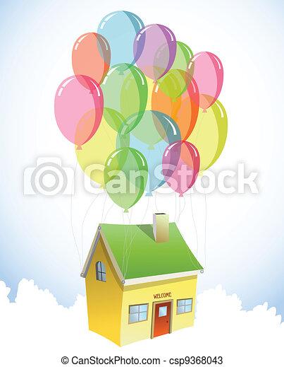 lose, haus, vektor, balloons., bunte - csp9368043