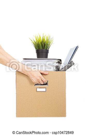lose job concept.hand holding the box of laid off employee - csp10472849