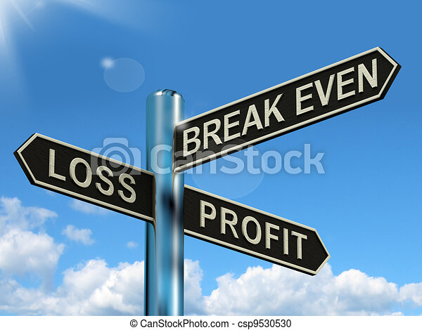 Loss Profit Or Break Even Signpost Shows Investment Earnings And Profits - csp9530530
