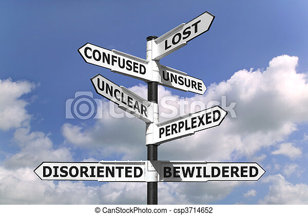 Lost and Confused Signpost - csp3714652
