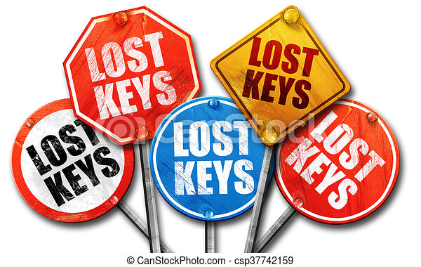 Lost Keys 3d Rendering Street Signs Canstock