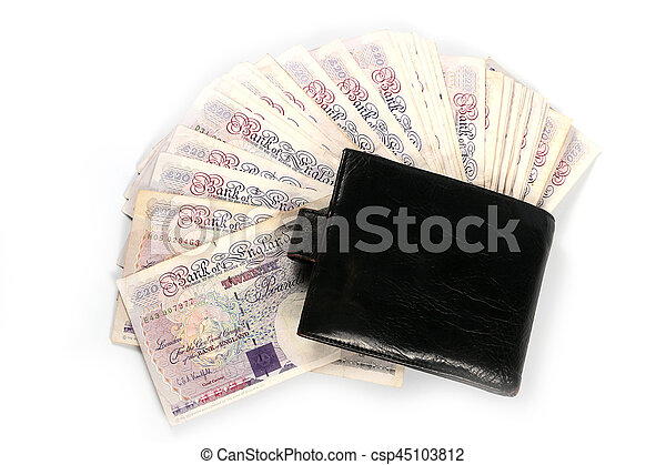 Black Wallet From Genuine Leather And A Lot Of British Pounds As A