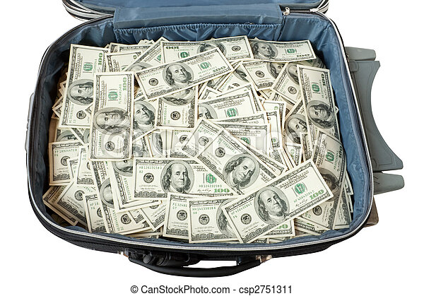 Lot Of Money In A Suitcase Isolated On White
