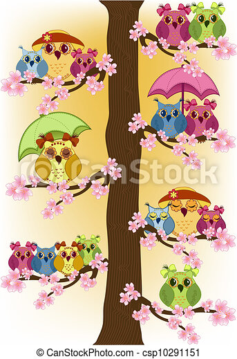 Lot of owls sitting in a tree - csp10291151