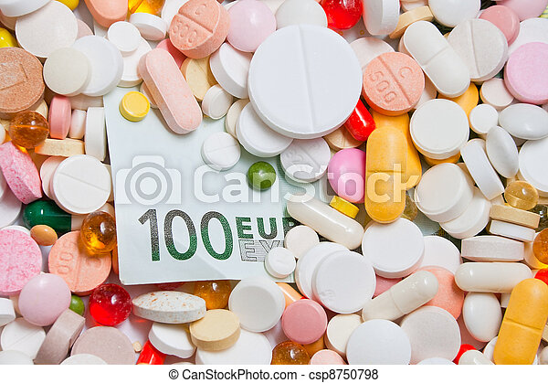 Lot of pills and one hundred euro banknote - csp8750798