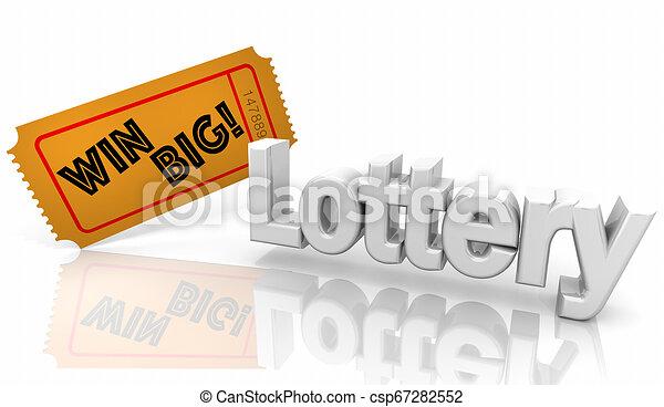 Lotería de lotería gana un gran boleto de concurso ilustración 3D - csp67282552