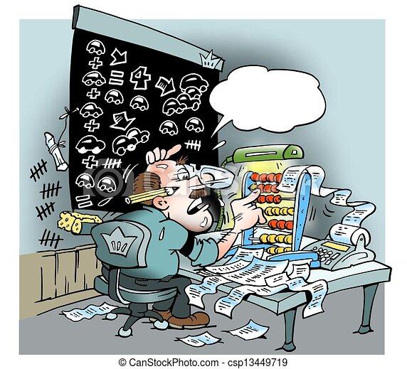 lotes, contabilidade, cálculos, homem - csp13449719
