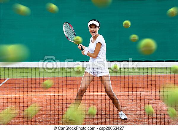 lotissements, tennis, sportive, balles, retourner - csp20053427
