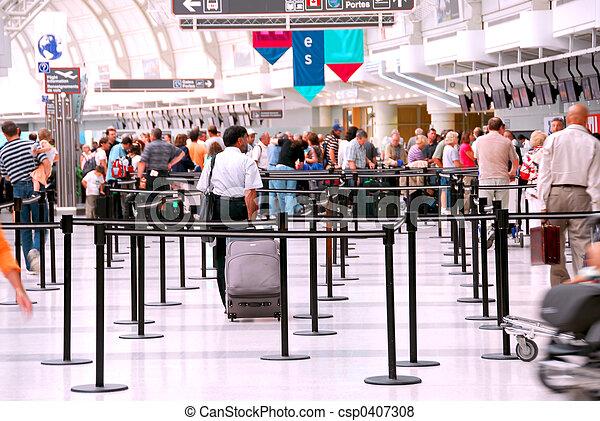 lotnisko, tłum - csp0407308