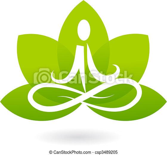 Yoga lotus icono / logo - csp3489205