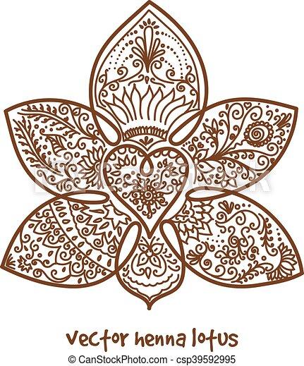 Loto tatuaje alhea Tatuaje henna loto resumen vectores