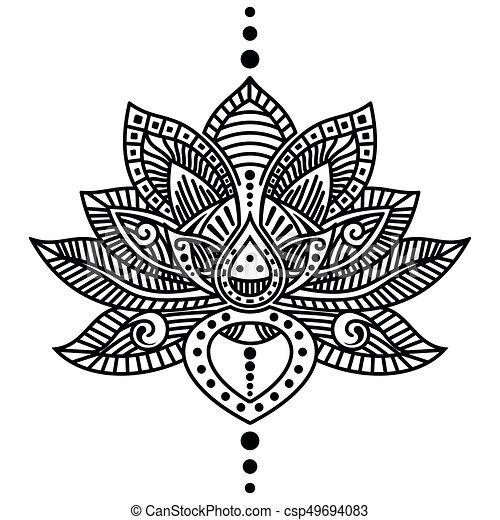 Loto Tatuaje Flor Tatuaje Flor Loto Imagen Aislado Fondo