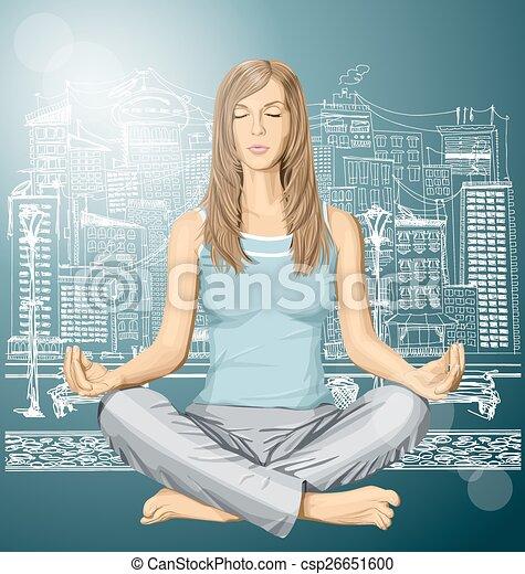 loto, vettore, donna meditando, atteggiarsi - csp26651600