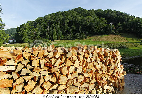 lots of firewood for fireplace stacked in the street - csp12804058