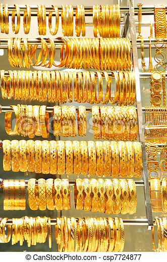 Lots of gold jewelry Necklaces and bracelets at istanbul picture