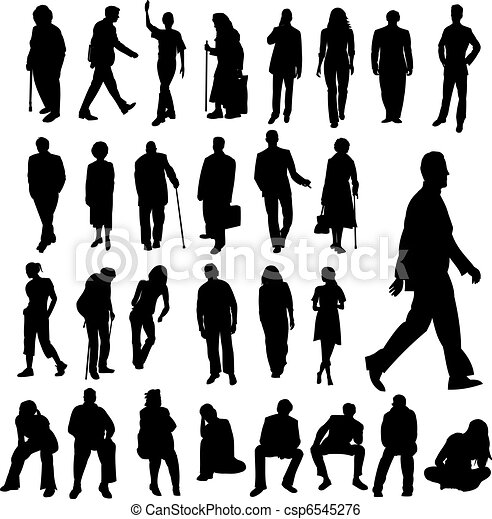 Lots of People Silhouettes - csp6545276