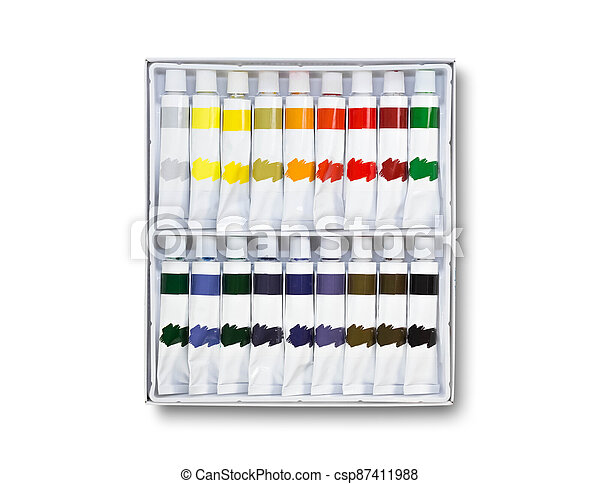 Lots of tubes of acrylic paint. Close up. Isolated on a white background - csp87411988