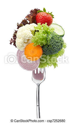 lots of vegetables on fork - csp7252680