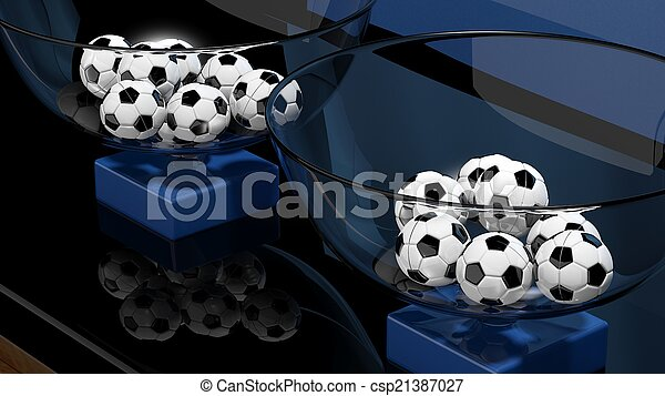Lottery baskets with soccer balls closeup  - csp21387027