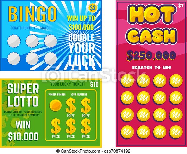Lottery ticket vector lucky bingo card win chance lotto game jackpot ticketing set illustration lottery gaming tickets isolated on white background - csp70874192