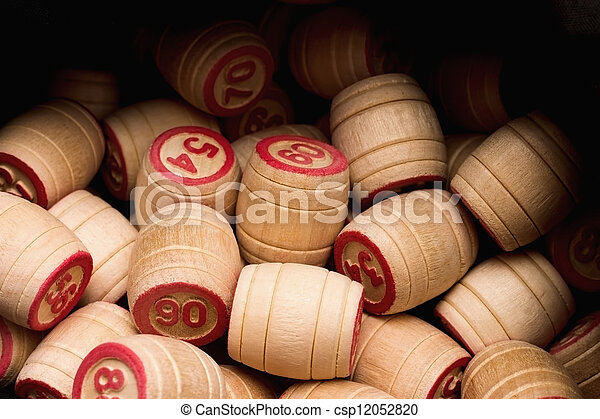 Lotto. Wooden kegs in a sack - csp12052820