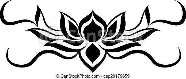 Black Lotus For Back Tattoo