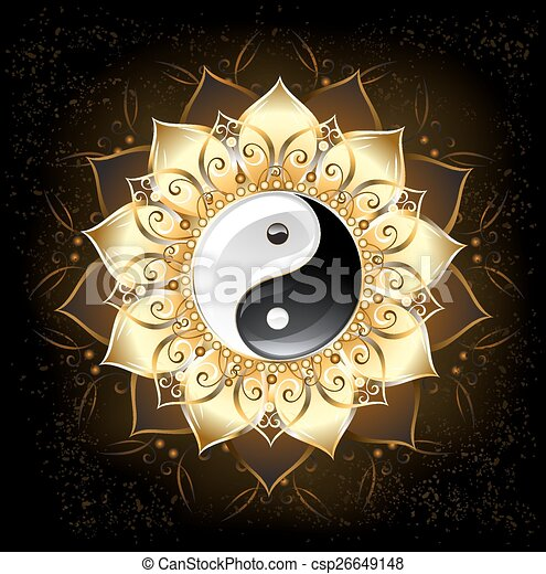 lotus, doré, yang yin - csp26649148