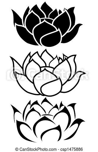 Dessin Tribal Fleur lotus fleur. lotus, tatouage, tribal, fleur, ensemble.