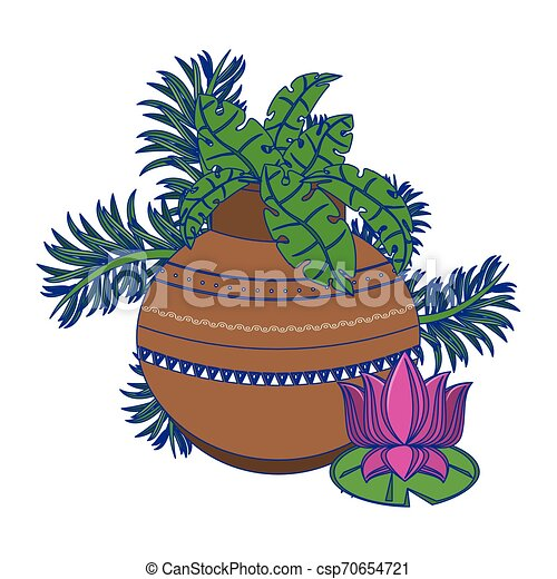 Lotus Flower And Pot With Leaves Cartoon Isolated Blue Lines Lotus Flower And Pot With Leaves Cartoon Isolated Vector Canstock