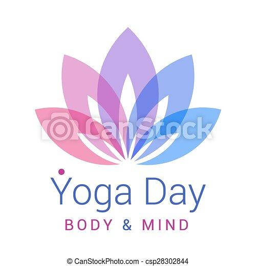 Colorful Five Petals Lotus Flower As Symbol Of Yoga Sample Text