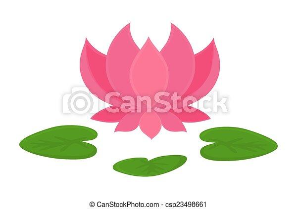 Beautiful Pink Lotus Flower Blooming Vector Shape Design
